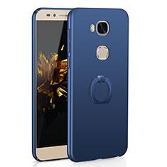 Coque Plastique Housse Etui Rigide Mat avec Support Bague Anneau A01 pour Huawei GR5 Bleu