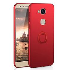 Coque Plastique Housse Etui Rigide Mat avec Support Bague Anneau A01 pour Huawei GR5 Rouge