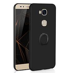Coque Plastique Housse Etui Rigide Mat avec Support Bague Anneau A01 pour Huawei Honor 5X Noir