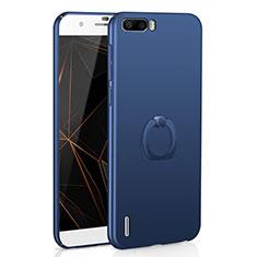 Coque Plastique Housse Etui Rigide Mat avec Support Bague Anneau A01 pour Huawei Honor 6 Plus Bleu