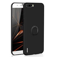 Coque Plastique Housse Etui Rigide Mat avec Support Bague Anneau A01 pour Huawei Honor 6 Plus Noir
