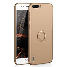 Coque Plastique Housse Etui Rigide Mat avec Support Bague Anneau A01 pour Huawei Honor 6 Plus Or