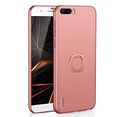 Coque Plastique Housse Etui Rigide Mat avec Support Bague Anneau A01 pour Huawei Honor 6 Plus Or Rose