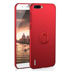 Coque Plastique Housse Etui Rigide Mat avec Support Bague Anneau A01 pour Huawei Honor 6 Plus Rouge