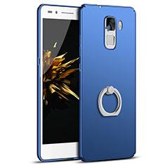 Coque Plastique Housse Etui Rigide Mat avec Support Bague Anneau A01 pour Huawei Honor 7 Dual SIM Bleu