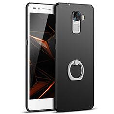 Coque Plastique Housse Etui Rigide Mat avec Support Bague Anneau A01 pour Huawei Honor 7 Dual SIM Noir