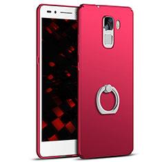 Coque Plastique Housse Etui Rigide Mat avec Support Bague Anneau A01 pour Huawei Honor 7 Dual SIM Rouge
