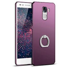 Coque Plastique Housse Etui Rigide Mat avec Support Bague Anneau A01 pour Huawei Honor 7 Dual SIM Violet