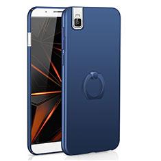 Coque Plastique Housse Etui Rigide Mat avec Support Bague Anneau A01 pour Huawei Honor 7i shot X Bleu