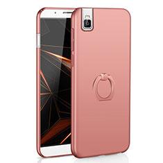 Coque Plastique Housse Etui Rigide Mat avec Support Bague Anneau A01 pour Huawei Honor 7i shot X Or Rose