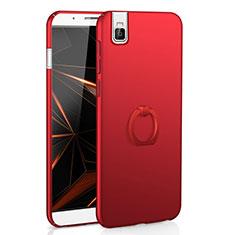 Coque Plastique Housse Etui Rigide Mat avec Support Bague Anneau A01 pour Huawei Honor 7i shot X Rouge