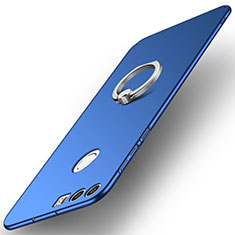 Coque Plastique Housse Etui Rigide Mat avec Support Bague Anneau A01 pour Huawei Honor 8 Bleu