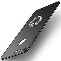 Coque Plastique Housse Etui Rigide Mat avec Support Bague Anneau A01 pour Huawei Honor 8 Noir