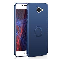 Coque Plastique Housse Etui Rigide Mat avec Support Bague Anneau A01 pour Huawei Honor Play 5 Bleu