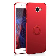 Coque Plastique Housse Etui Rigide Mat avec Support Bague Anneau A01 pour Huawei Honor Play 5 Rouge