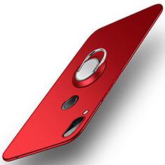 Coque Plastique Housse Etui Rigide Mat avec Support Bague Anneau A01 pour Huawei Honor Play Rouge