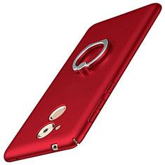 Coque Plastique Housse Etui Rigide Mat avec Support Bague Anneau A01 pour Huawei Nova Smart Rouge