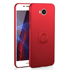 Coque Plastique Housse Etui Rigide Mat avec Support Bague Anneau A01 pour Huawei Y5 (2017) Rouge
