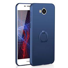 Coque Plastique Housse Etui Rigide Mat avec Support Bague Anneau A01 pour Huawei Y6 (2017) Bleu