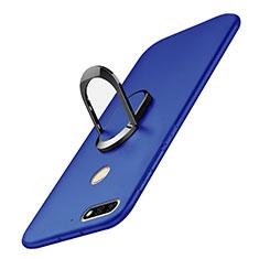 Coque Plastique Housse Etui Rigide Mat avec Support Bague Anneau A01 pour Huawei Y7 (2018) Bleu