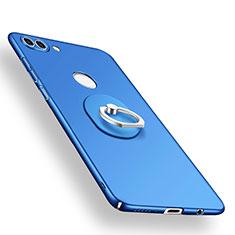 Coque Plastique Housse Etui Rigide Mat avec Support Bague Anneau A01 pour Huawei Y9 (2018) Bleu