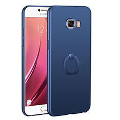 Coque Plastique Housse Etui Rigide Mat avec Support Bague Anneau A01 pour Samsung Galaxy C7 SM-C7000 Bleu