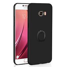 Coque Plastique Housse Etui Rigide Mat avec Support Bague Anneau A01 pour Samsung Galaxy C7 SM-C7000 Noir