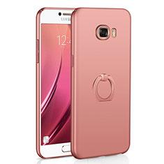 Coque Plastique Housse Etui Rigide Mat avec Support Bague Anneau A01 pour Samsung Galaxy C7 SM-C7000 Or Rose