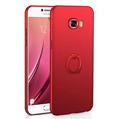 Coque Plastique Housse Etui Rigide Mat avec Support Bague Anneau A01 pour Samsung Galaxy C7 SM-C7000 Rouge