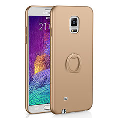 Coque Plastique Housse Etui Rigide Mat avec Support Bague Anneau A01 pour Samsung Galaxy Note 4 Duos N9100 Dual SIM Or