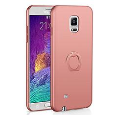 Coque Plastique Housse Etui Rigide Mat avec Support Bague Anneau A01 pour Samsung Galaxy Note 4 Duos N9100 Dual SIM Or Rose