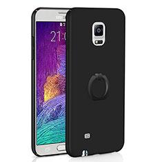 Coque Plastique Housse Etui Rigide Mat avec Support Bague Anneau A01 pour Samsung Galaxy Note 4 SM-N910F Noir