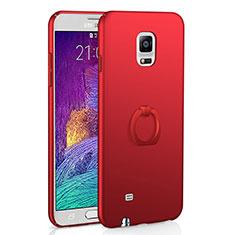 Coque Plastique Housse Etui Rigide Mat avec Support Bague Anneau A01 pour Samsung Galaxy Note 4 SM-N910F Rouge