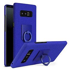Coque Plastique Housse Etui Rigide Mat avec Support Bague Anneau A01 pour Samsung Galaxy Note 8 Duos N950F Bleu