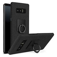 Coque Plastique Housse Etui Rigide Mat avec Support Bague Anneau A01 pour Samsung Galaxy Note 8 Duos N950F Noir