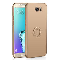 Coque Plastique Housse Etui Rigide Mat avec Support Bague Anneau A01 pour Samsung Galaxy S6 Edge SM-G925 Or