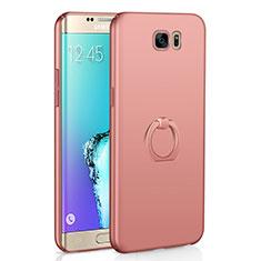 Coque Plastique Housse Etui Rigide Mat avec Support Bague Anneau A01 pour Samsung Galaxy S6 Edge SM-G925 Or Rose