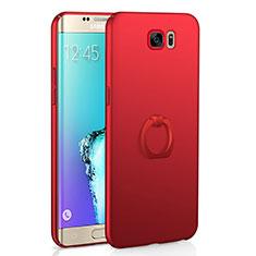 Coque Plastique Housse Etui Rigide Mat avec Support Bague Anneau A01 pour Samsung Galaxy S6 Edge SM-G925 Rouge