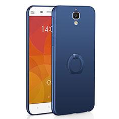 Coque Plastique Housse Etui Rigide Mat avec Support Bague Anneau A01 pour Xiaomi Mi 4 Bleu