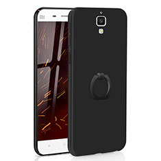Coque Plastique Housse Etui Rigide Mat avec Support Bague Anneau A01 pour Xiaomi Mi 4 Noir