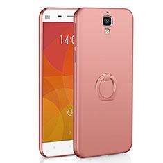 Coque Plastique Housse Etui Rigide Mat avec Support Bague Anneau A01 pour Xiaomi Mi 4 Or Rose
