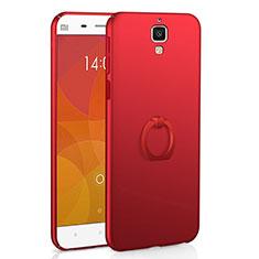 Coque Plastique Housse Etui Rigide Mat avec Support Bague Anneau A01 pour Xiaomi Mi 4 Rouge