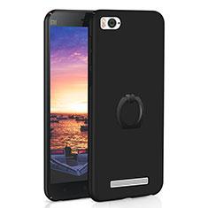 Coque Plastique Housse Etui Rigide Mat avec Support Bague Anneau A01 pour Xiaomi Mi 4C Noir