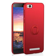 Coque Plastique Housse Etui Rigide Mat avec Support Bague Anneau A01 pour Xiaomi Mi 4C Rouge