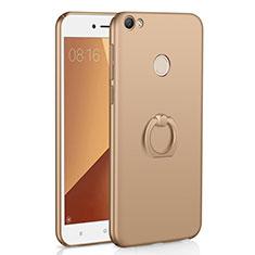 Coque Plastique Housse Etui Rigide Mat avec Support Bague Anneau A01 pour Xiaomi Redmi Note 5A Prime Or