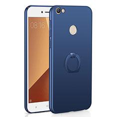 Coque Plastique Housse Etui Rigide Mat avec Support Bague Anneau A01 pour Xiaomi Redmi Note 5A Pro Bleu