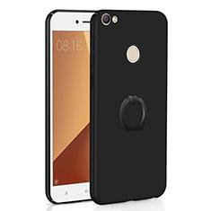 Coque Plastique Housse Etui Rigide Mat avec Support Bague Anneau A01 pour Xiaomi Redmi Note 5A Pro Noir
