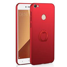 Coque Plastique Housse Etui Rigide Mat avec Support Bague Anneau A01 pour Xiaomi Redmi Note 5A Pro Rouge