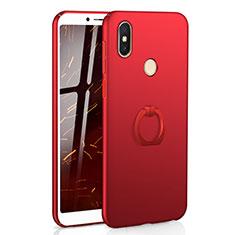 Coque Plastique Housse Etui Rigide Mat avec Support Bague Anneau A01 pour Xiaomi Redmi S2 Rouge