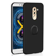 Coque Plastique Housse Etui Rigide Mat avec Support Bague Anneau A02 pour Huawei Honor 6X Pro Noir